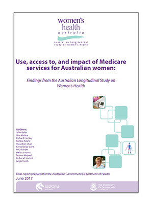 Front cover - 2017 Major Report - Use, acces to, and impact of Medicare services for Australian women