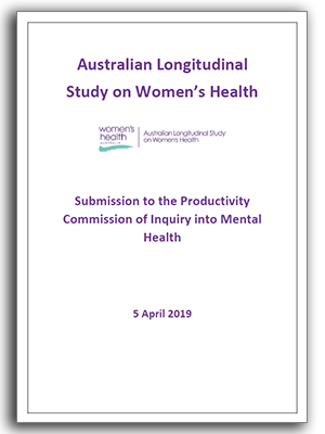 ALSWH submission to the productivity commision inquiry on mental health